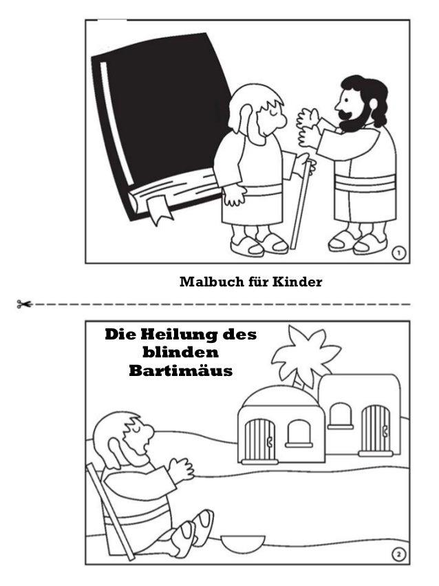 Die Heilung des blinden Bartimäus Malbuch für Kinder