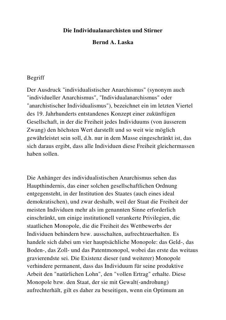 """Die Individualanarchisten und Stirner<br />Bernd A. Laska<br />Begriff<br />Der Ausdruck """" individualistischer Anarchismus..."""