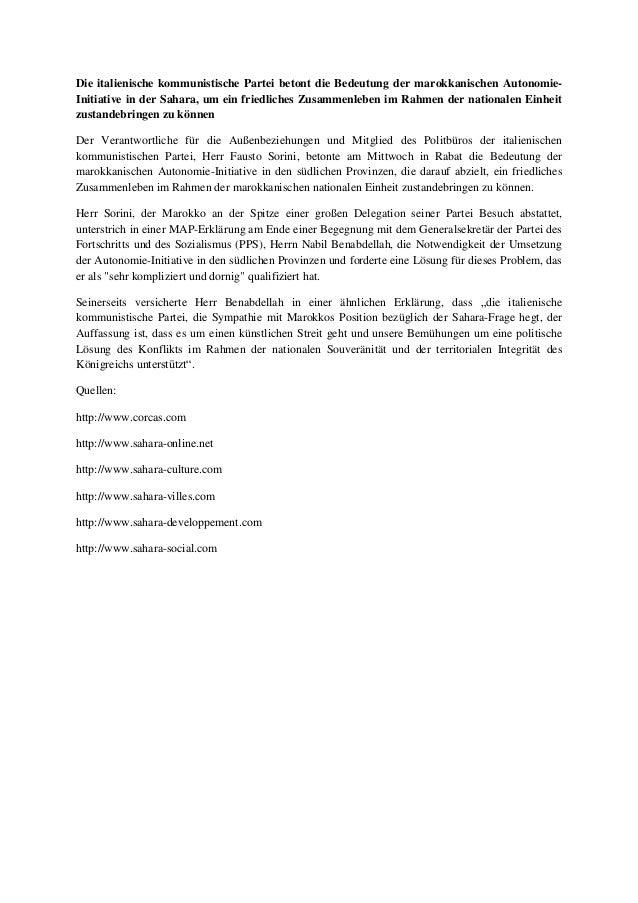 Die italienische kommunistische partei betont die bedeutung der marokkanischen autonomie initiative in der sahara, um ein friedliches zusammenleben im rahmen der nationalen einheit zustandebringen zu können