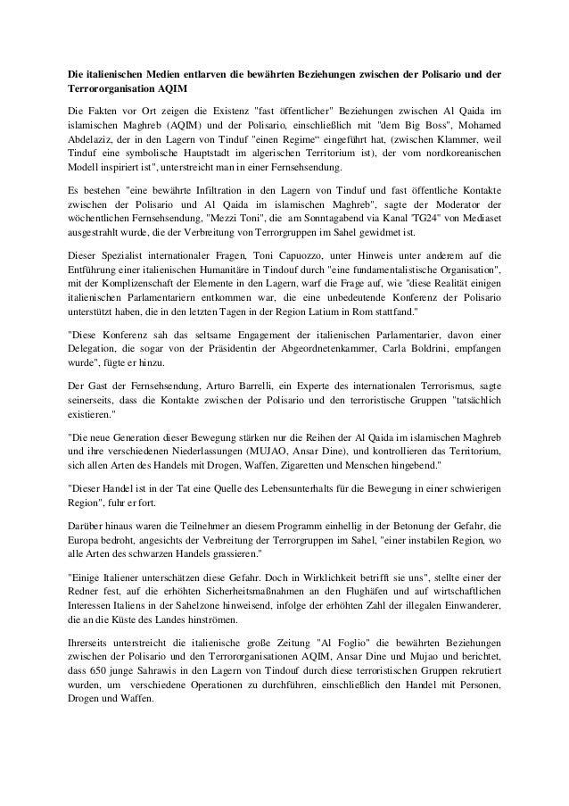 Die italienischen Medien entlarven die bewährten Beziehungen zwischen der Polisario und der Terrororganisation AQIM Die Fa...