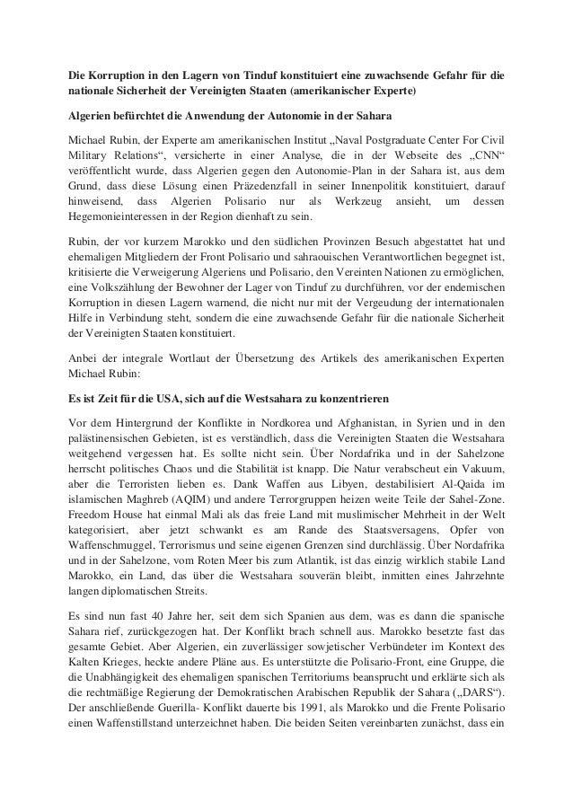 Die Korruption in den Lagern von Tinduf konstituiert eine zuwachsende Gefahr für die nationale Sicherheit der Vereinigten ...