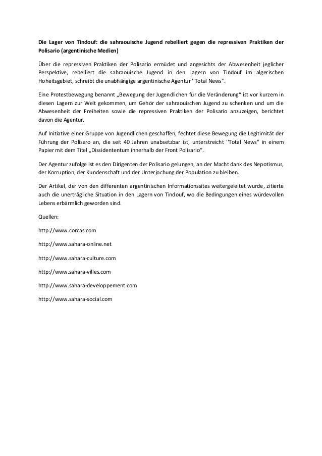 Die Lager von Tindouf: die sahraouische Jugend rebelliert gegen die repressiven Praktiken der Polisario (argentinische Med...