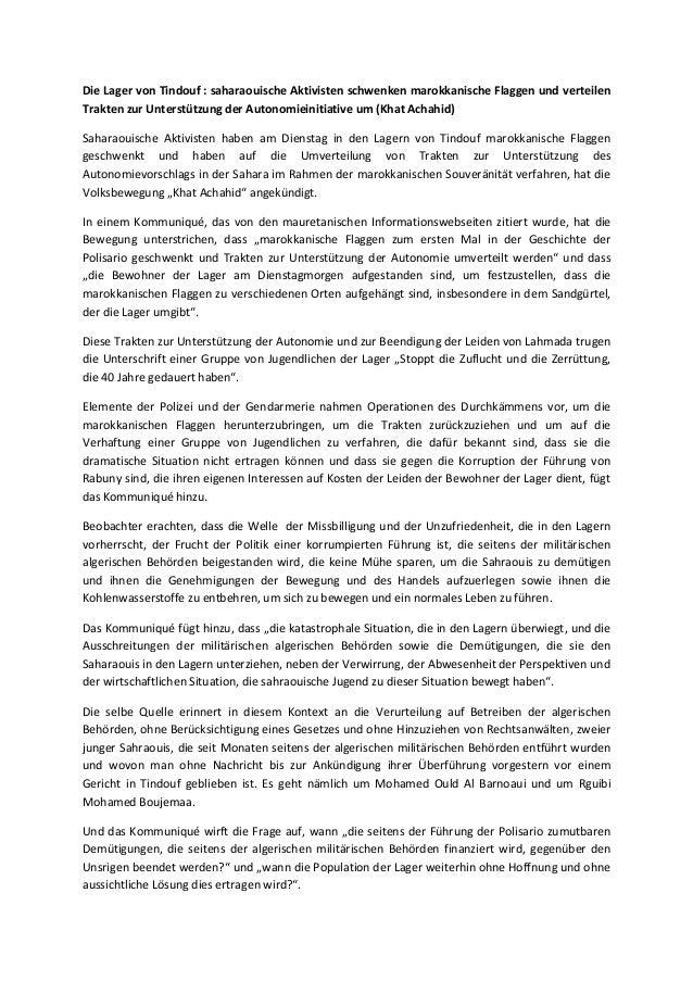 Die Lager von Tindouf : saharaouische Aktivisten schwenken marokkanische Flaggen und verteilen Trakten zur Unterstützung d...