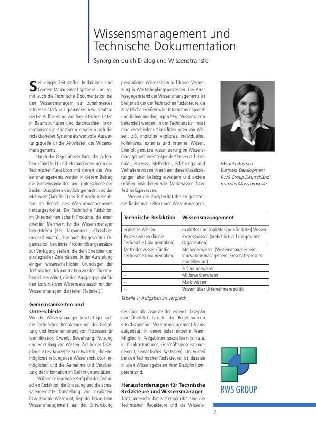 7 Wissensmanagement und Technische Dokumentation Synergien durch Dialog und Wissenstransfer Micaela Andrich, Business Deve...