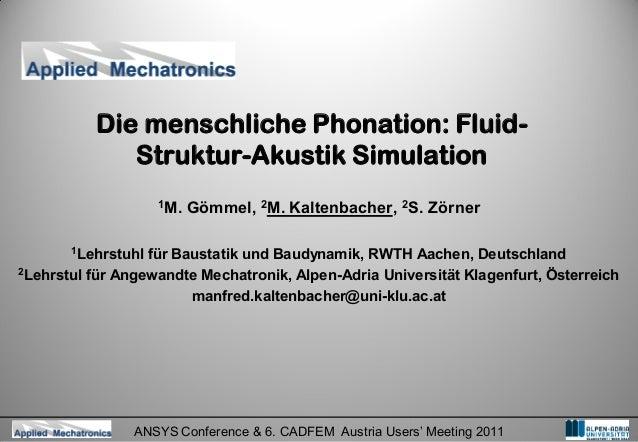 Die menschliche Phonation: Fluid-             Struktur-Akustik Simulation                    1M.   Gömmel, 2M. Kaltenbache...