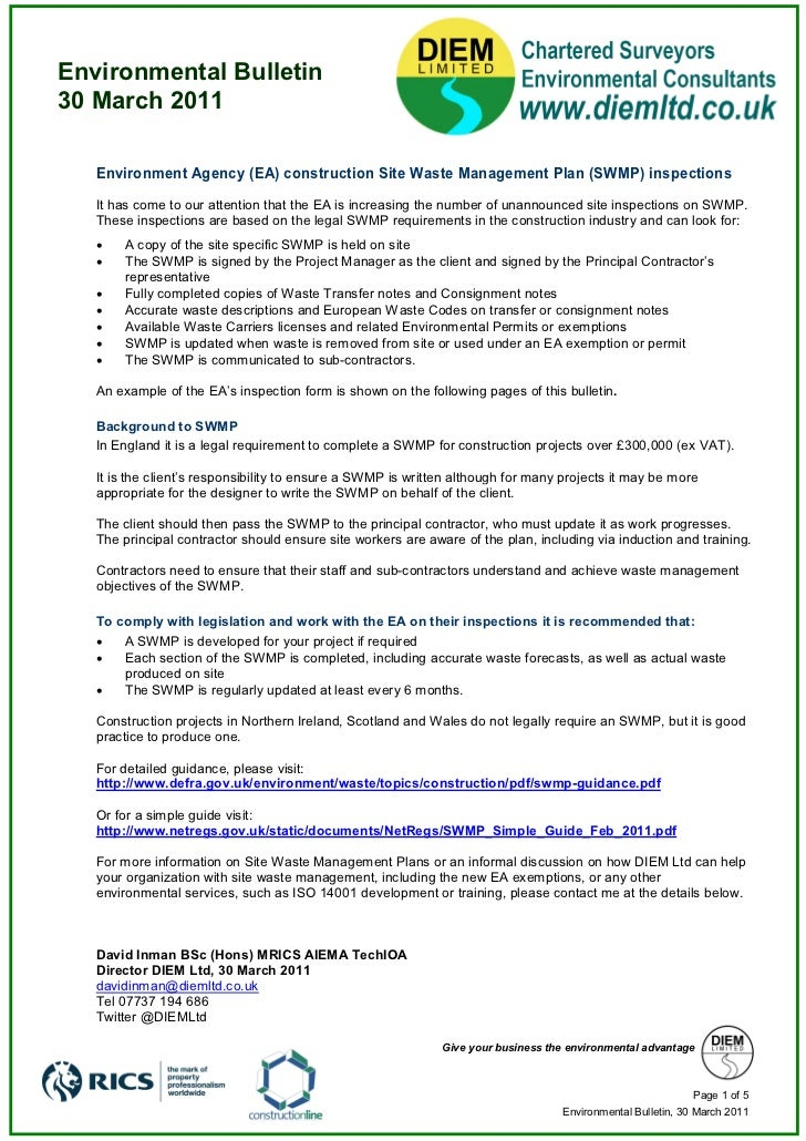 Environmental Bulletin30 March 2011   Environment Agency (EA) construction Site Waste Management Plan (SWMP) inspections  ...