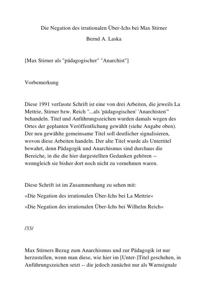 """Die Negation des irrationalen Über-Ichs bei Max Stirner<br />Bernd A. Laska<br />[Max Stirner als """" pädagogischer""""  """" Anar..."""