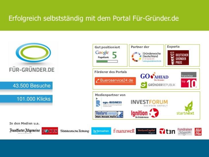 Erfolgreich selbstständig mit dem Portal Für-Gründer.de                           Gut positioniert       Partner der   Exp...