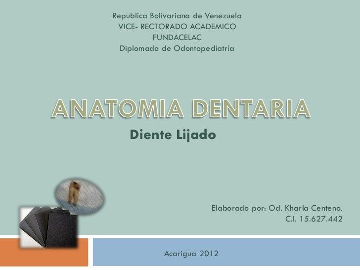 Republica Bolivariana de Venezuela VICE- RECTORADO ACADEMICO           FUNDACELAC  Diplomado de Odontopediatría    Diente ...