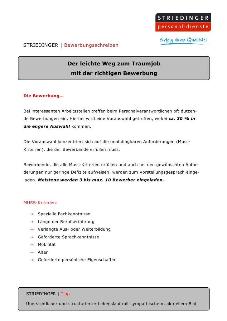STRIEDINGER | Bewerbungsschreiben                       Der leichte Weg zum Traumjob                       mit der richtig...