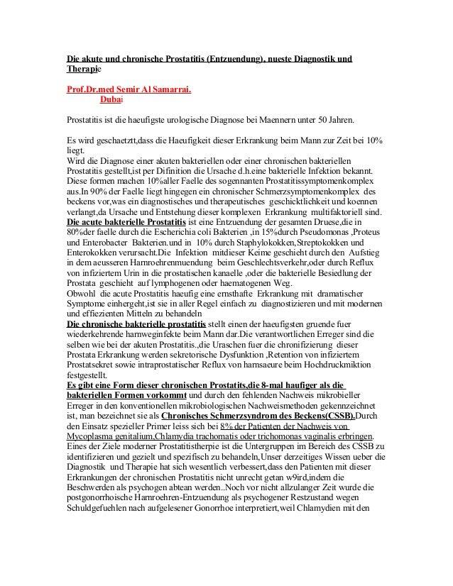 Die akute und chronische Prostatitis (Entzuendung), nueste Diagnostik und Therapie Prof.Dr.med Semir Al Samarrai. Dubai Pr...