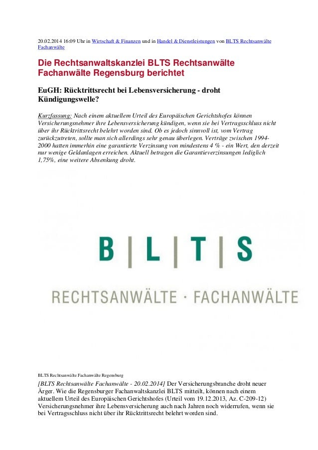 20.02.2014 16:09 Uhr in Wirtschaft & Finanzen und in Handel & Dienstleistungen von BLTS Rechtsanwälte Fachanwälte  Die Rec...