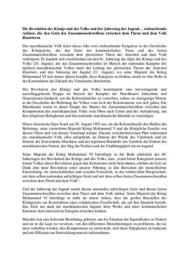 Die Revolution des Königs und des Volks und der Jahrestag der Jugend… einleuchtende Anlässe, die den Geist des Zusammensch...