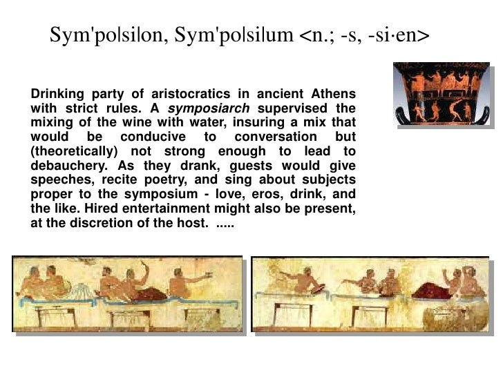 Sym'po|si|on, Sym'po|si|um <n.; -s, -si·en><br />Drinking party of aristocratics in ancient Athens with strict rules.A sy...