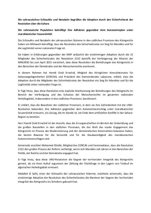 Die sahraouischen Schioukhs und Notabeln begrüßen die Adoption durch den Sicherheitsrat der Resolution über die Sahara Die...