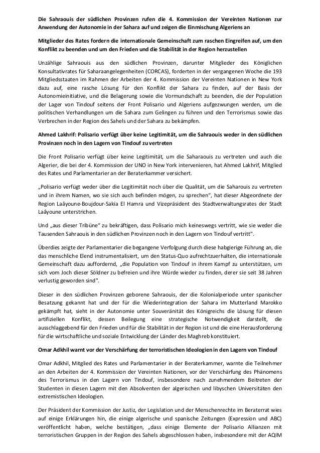 Die Sahraouis der südlichen Provinzen rufen die 4. Kommission der Vereinten Nationen zur  Anwendung der Autonomie in der S...