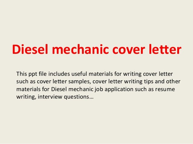 Cover Letter Diesel Mechanic Apprentice