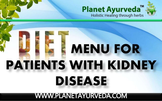 WWW.PLANETAYURVEDA.COM MENU FOR PATIENTS WITH KIDNEY DISEASE