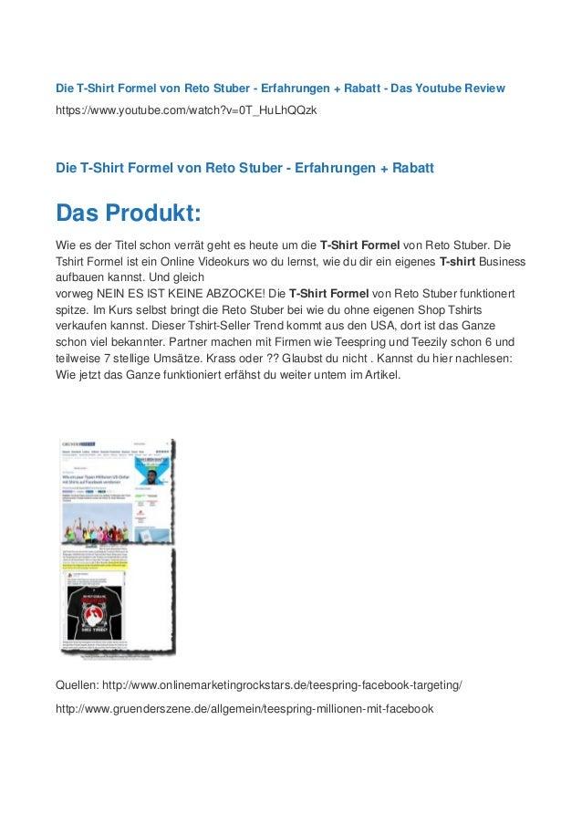 Die T-Shirt Formel von Reto Stuber - Erfahrungen + Rabatt - Das Youtube Review https://www.youtube.com/watch?v=0T_HuLhQQzk...