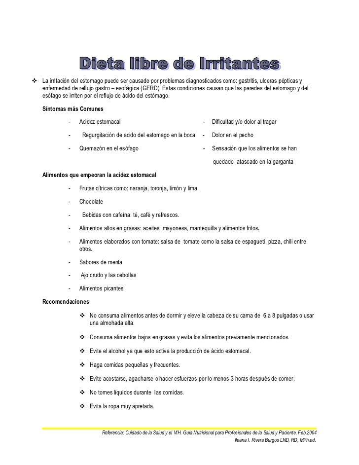 Dieta libre de irritanes