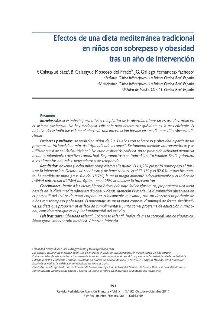 Efectos de una dieta mediterránea tradicional                          en niños con sobrepeso y obesidad                  ...