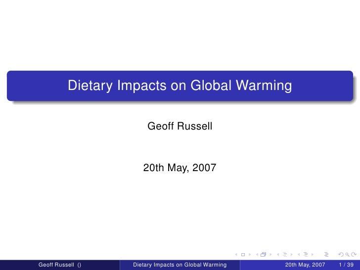 Dietary Impact on Global Warming