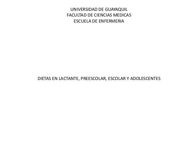 UNIVERSIDAD DE GUAYAQUIL FACULTAD DE CIENCIAS MEDICAS ESCUELA DE ENFERMERIA DIETAS EN LACTANTE, PREESCOLAR, ESCOLAR Y ADOL...
