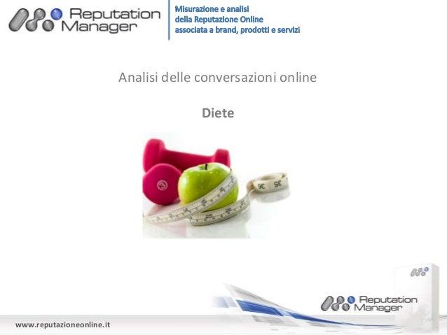 Analisi delle conversazioni online  Diete  www.reputazioneonline.it