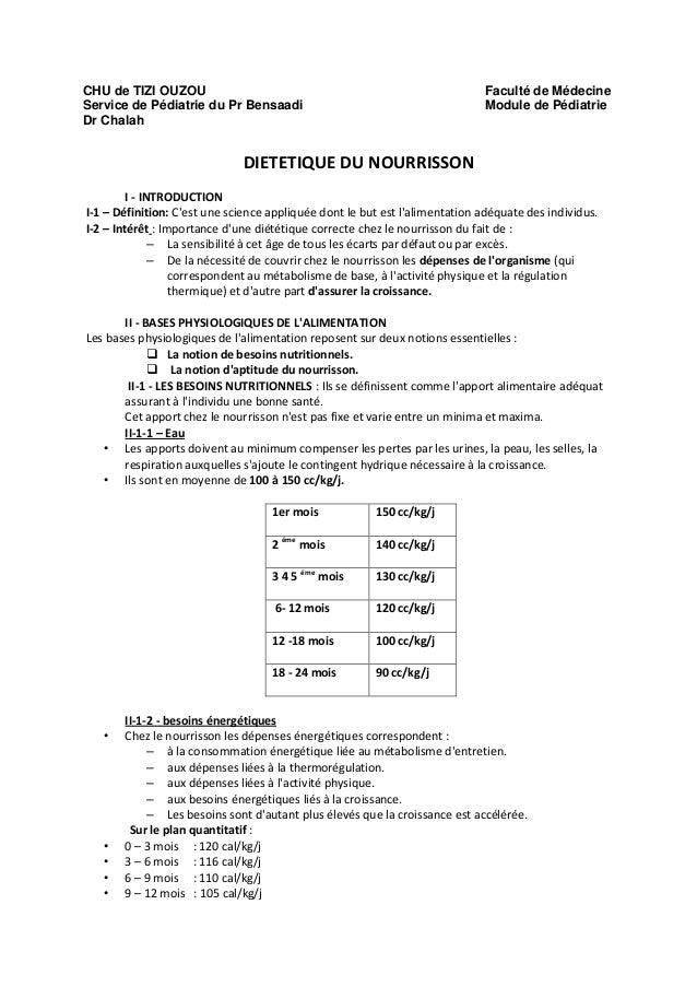CHU de TIZI OUZOU Service de Pédiatrie du Pr Bensaadi Dr Chalah  Faculté de Médecine Module de Pédiatrie  DIETETIQUE DU NO...