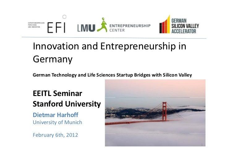 Dietmar Harhoff - UniMunich LMU - GSVA - Stanford Engineering - Feb 6 2012 - Version 20120211