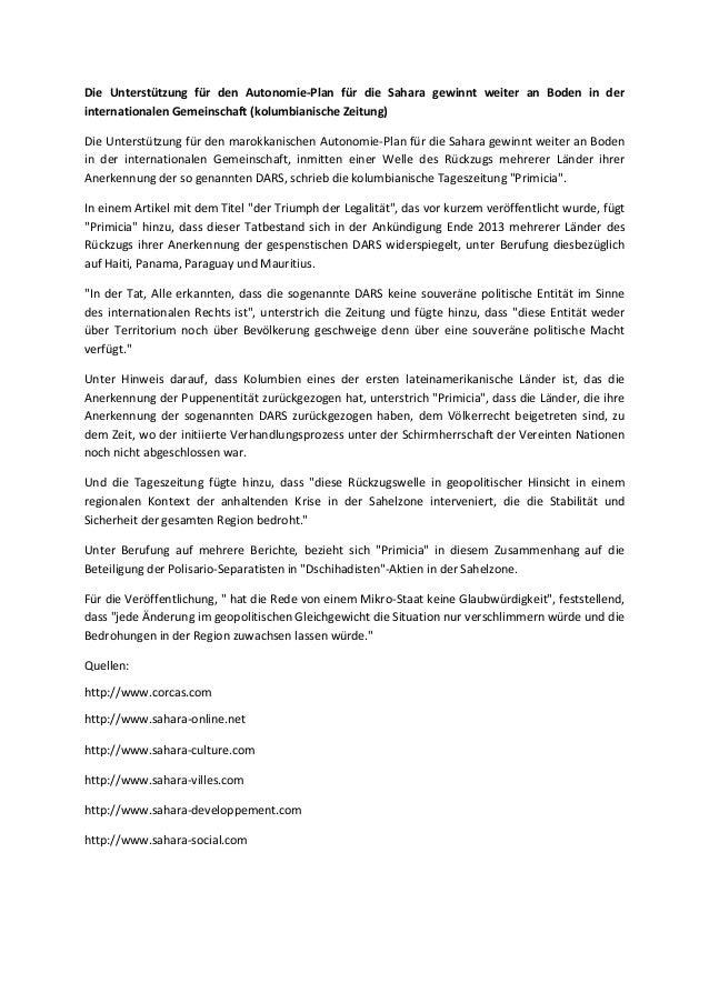 Die Unterstützung für den Autonomie-Plan für die Sahara gewinnt weiter an Boden in der internationalen Gemeinschaft (kolum...