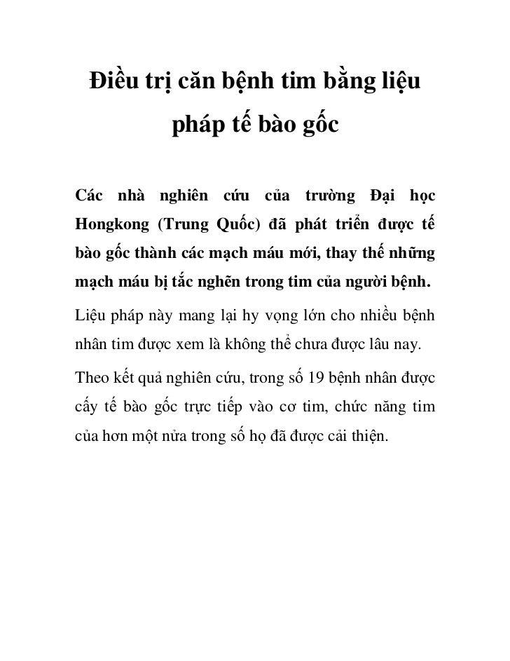 i u tr căn b nh tim b ng li u             pháp t bào g cCác nhà nghiên c u c a trư ng                  i h cHongkong (Trun...