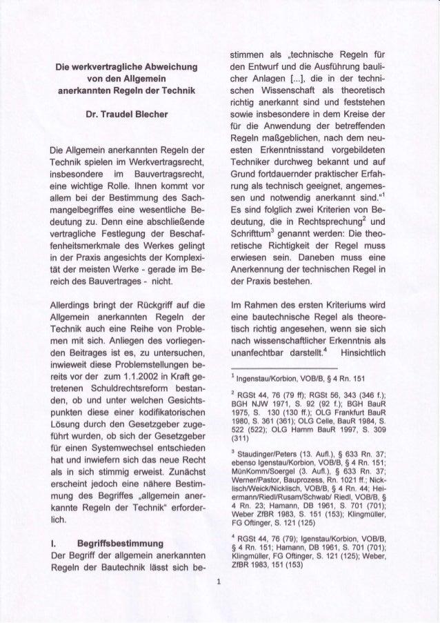 stimmenals ,,technische     Regelnfür  Diewerkvertragliche  Abweichung       den Entwurf dieAusführung                    ...