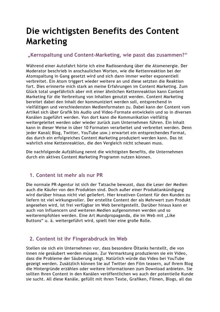 """Die wichtigsten Benefits des ContentMarketing""""Kernspaltung und Content-Marketing, wie passt das zusammen?""""Während einer Au..."""
