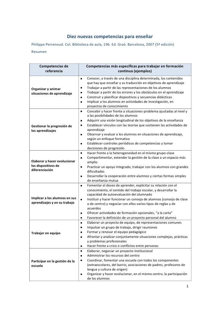 Diez nuevas competencias para enseñarPhilippe Perrenoud. Col. Biblioteca de aula, 196. Ed. Graó. Barcelona, 2007 (5ª edici...