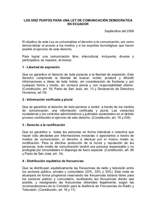 LOS DIEZ PUNTOS PARA UNA LEY DE COMUNICACIÓN DEMOCRATICA                       EN ECUADOR                                 ...