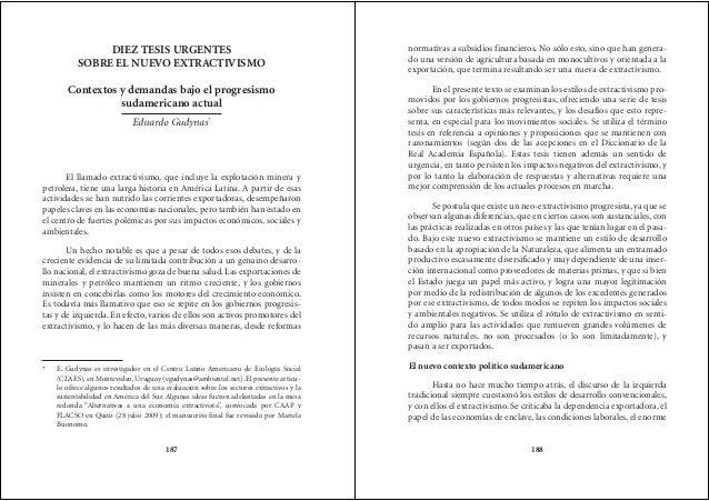 Diez tesis urgentes sobre el nuevo extractivismo