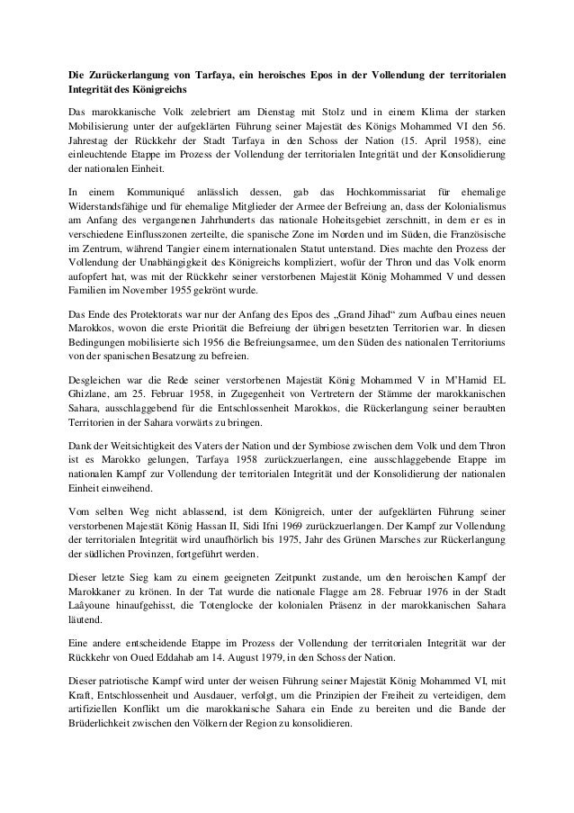 Die Zurückerlangung von Tarfaya, ein heroisches Epos in der Vollendung der territorialen Integrität des Königreichs Das ma...