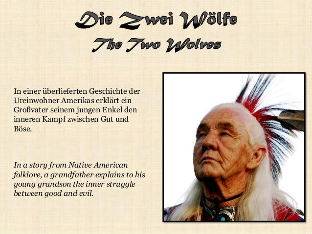 In a story from Native American folklore, a grandfather explains to his young grandson the inner struggle between good and...