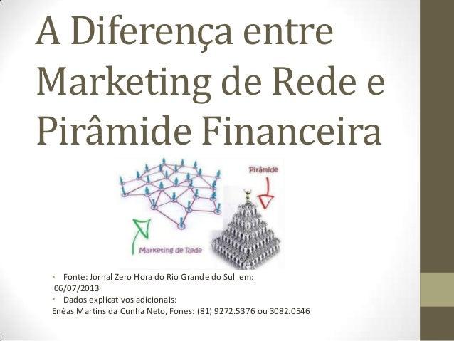 A Diferença entre Marketing de Rede e Pirâmide Financeira • Fonte: Jornal Zero Hora do Rio Grande do Sul em: 06/07/2013 • ...
