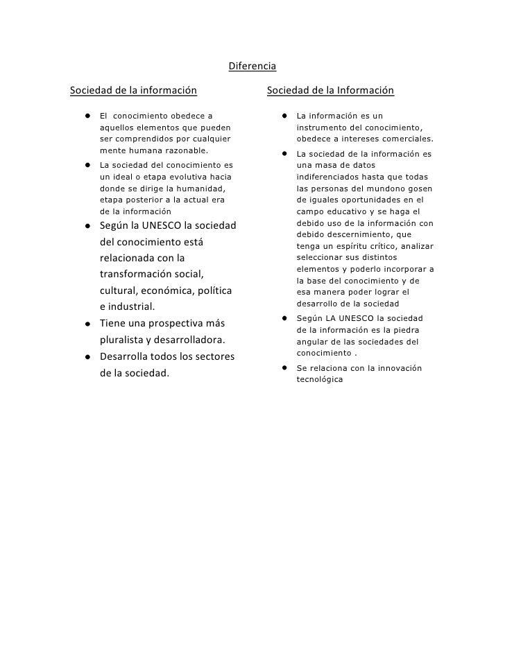 Diferencia  Sociedad de la información                  Sociedad de la Información        El conocimiento obedece a       ...