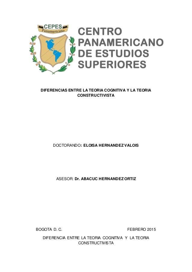 DIFERENCIAS ENTRE LA TEORIA COGNITIVA Y LA TEORIA CONSTRUCTIVISTA DOCTORANDO: ELOISA HERNANDEZ VALOIS ASESOR: Dr. ABACUC H...