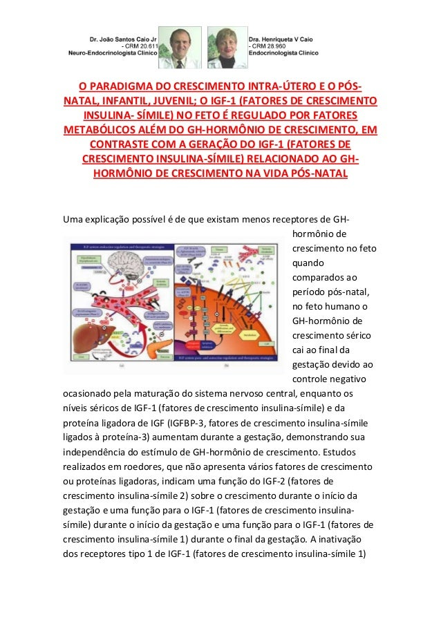 O PARADIGMA DO CRESCIMENTO INTRA-ÚTERO E O PÓS- NATAL, INFANTIL, JUVENIL; O IGF-1 (FATORES DE CRESCIMENTO INSULINA- SÍMILE...