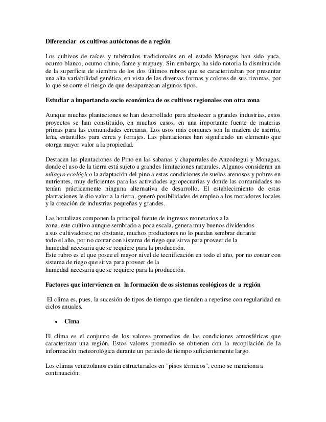 Diferenciar os cultivos autóctonos de a regiónLos cultivos de raíces y tubérculos tradicionales en el estado Monagas han s...