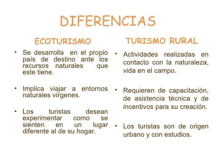 DIFERENCIAS <ul><li>ECOTURISMO </li></ul><ul><li>Se desarrolla  en el propio país de destino ante los recursos naturales  ...