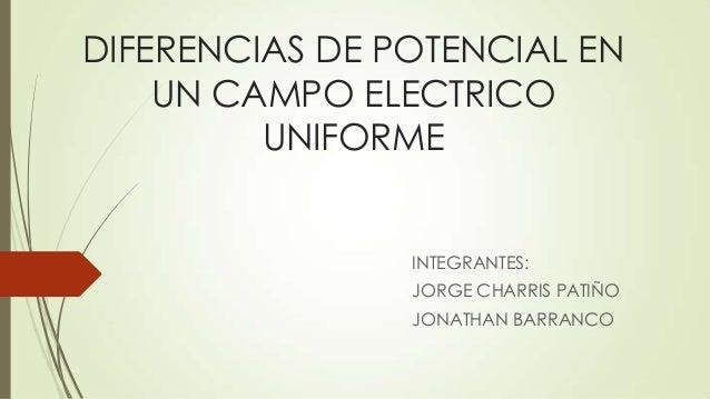 DIFERENCIAS DE POTENCIAL EN UN CAMPO ELECTRICO UNIFORME INTEGRANTES: JORGE CHARRIS PATIÑO JONATHAN BARRANCO