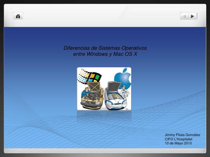 Diferencias de Sistemas Operativos     entre Windows y Mac OS X                                          Jimmy Plúas Gonzá...