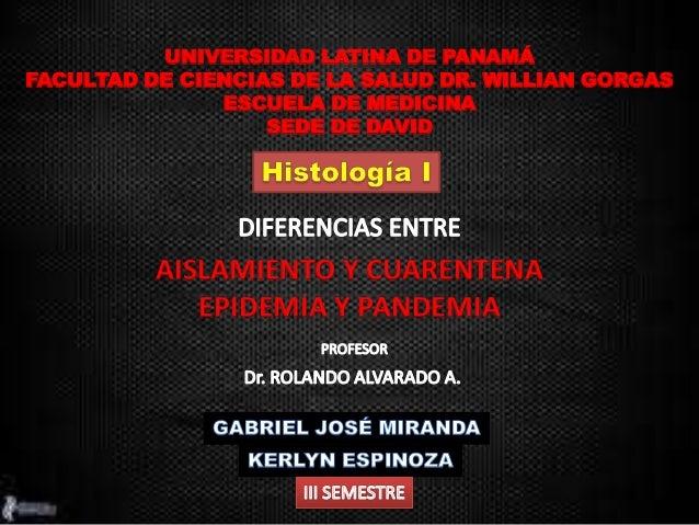 UNIVERSIDAD LATINA DE PANAMÁ FACULTAD DE CIENCIAS DE LA SALUD DR. WILLIAN GORGAS ESCUELA DE MEDICINA SEDE DE DAVID AISLAMI...