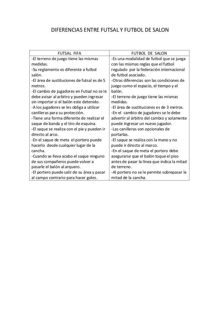 Diferencias entre futsal y futbol de salon cuarto archivo for 5 reglas del futbol de salon