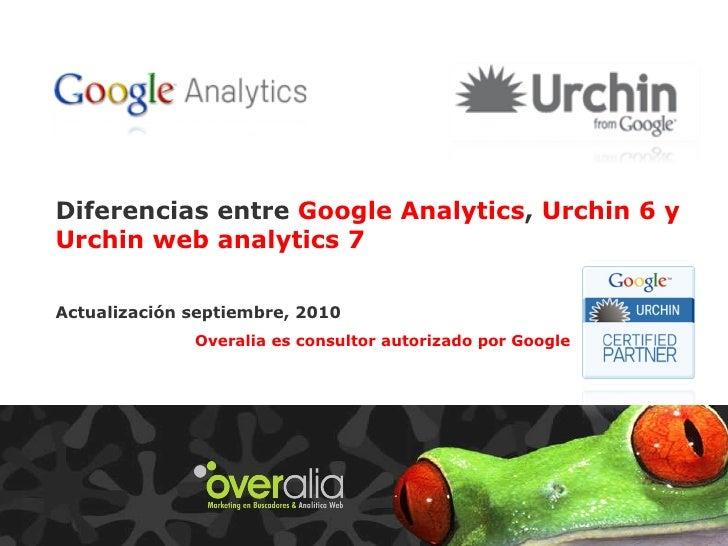 Diferencias entre  Google Analytics ,  Urchin 6 y Urchin web analytics 7 Actualización septiembre, 2010 Guillermo Vilarroi...